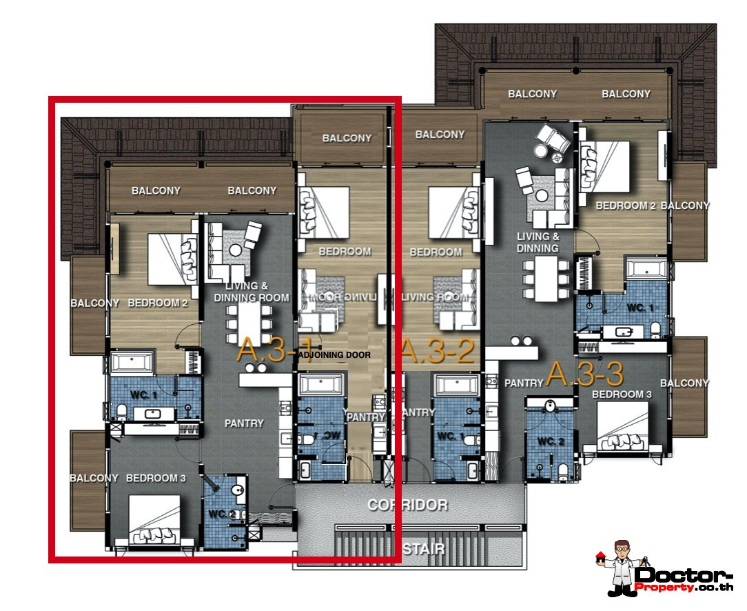 Floorplan - 3 Bedroom Condo with Sea View - (Foreigner Freehold) - Big Buddha, Koh Samui - For Sale
