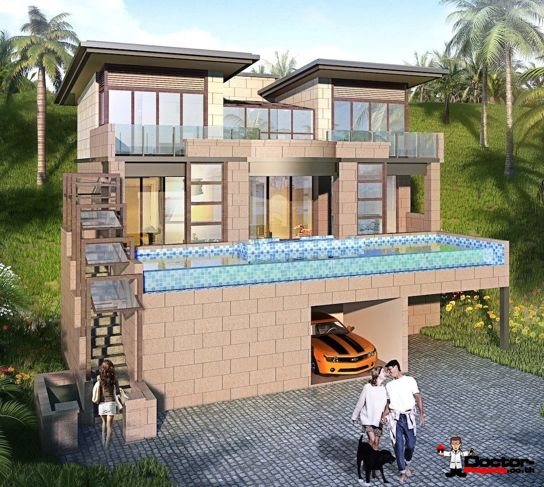 New 3 Bedroom Villa with Seaview - Chaweng Noi, Koh Samui - For Sale