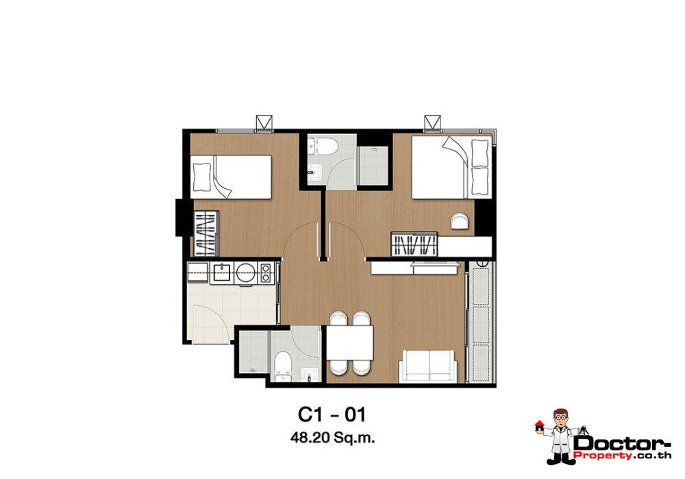 Apartment_for_sale_ Kensington-63_Bangkok_floorplan_48,20sqm
