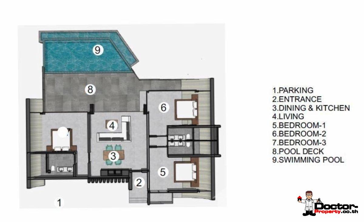 Plan - 2 Bed Pool Villa, Sea Views - Chaweng Noi, Koh Samui - For Sale