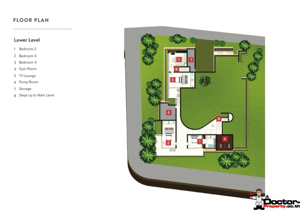 Lower Level - 4 Bedroom Luxury Pool Villa, Choeng Mon, Koh Samui — For Sale