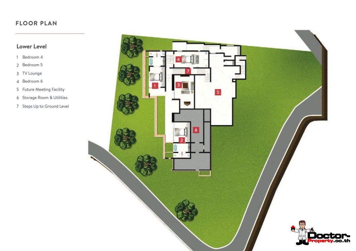 Lower Level - 6 Bedroom Luxury Pool Villa, Choeng Mon, Koh Samui — For Sale