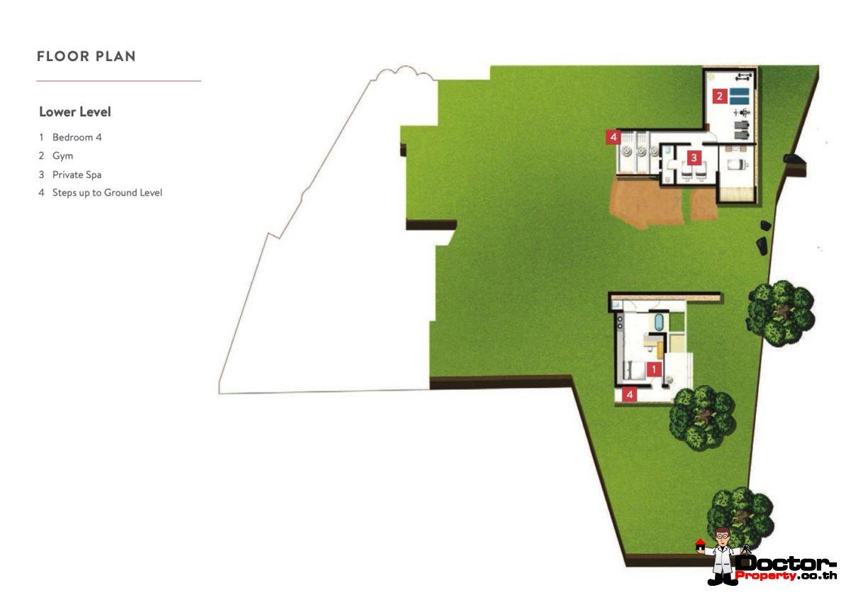 Lower Level - 5 Bedroom Luxury Villa - Choeng Mon, Koh Samui - For Sale