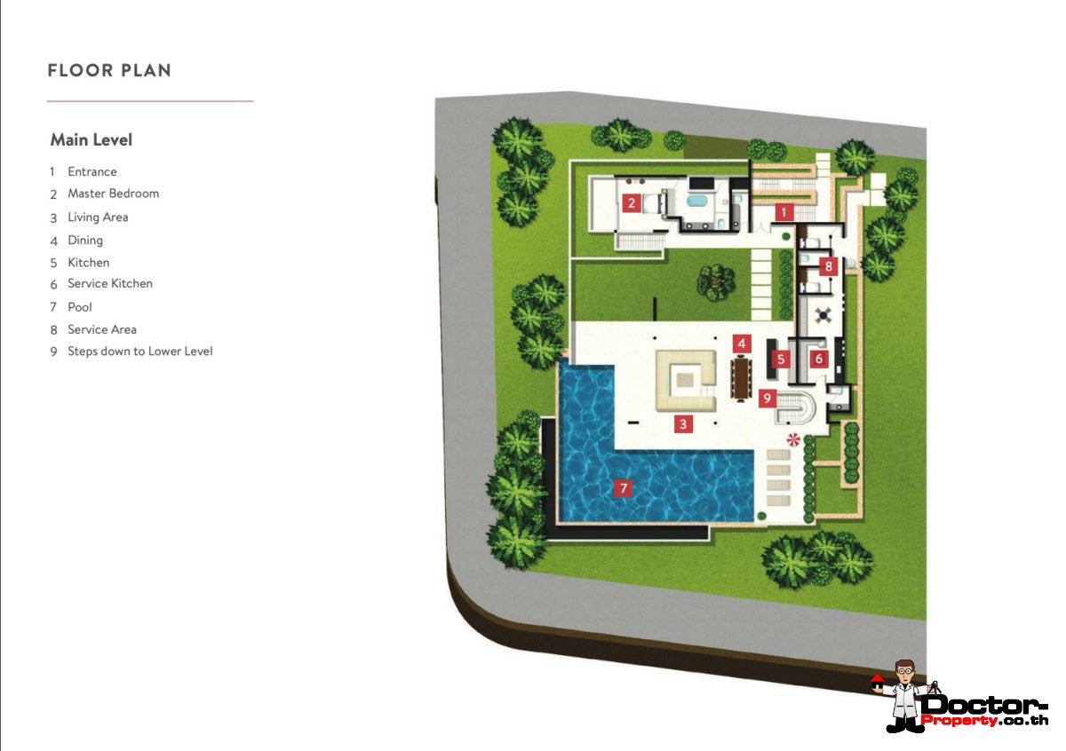 Main Level - 4 Bedroom Luxury Pool Villa, Choeng Mon, Koh Samui — For Sale