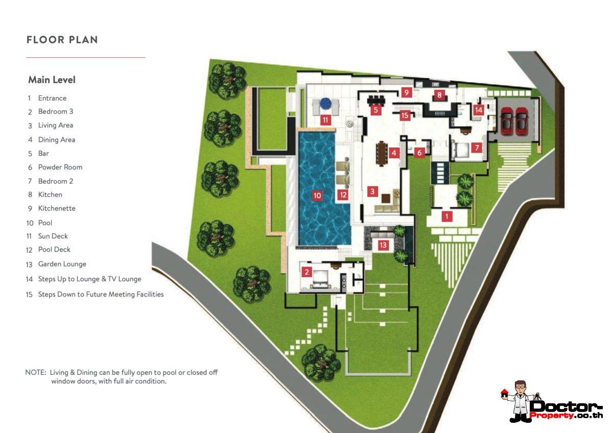 Main Level - 6 Bedroom Luxury Pool Villa, Choeng Mon, Koh Samui — For Sale