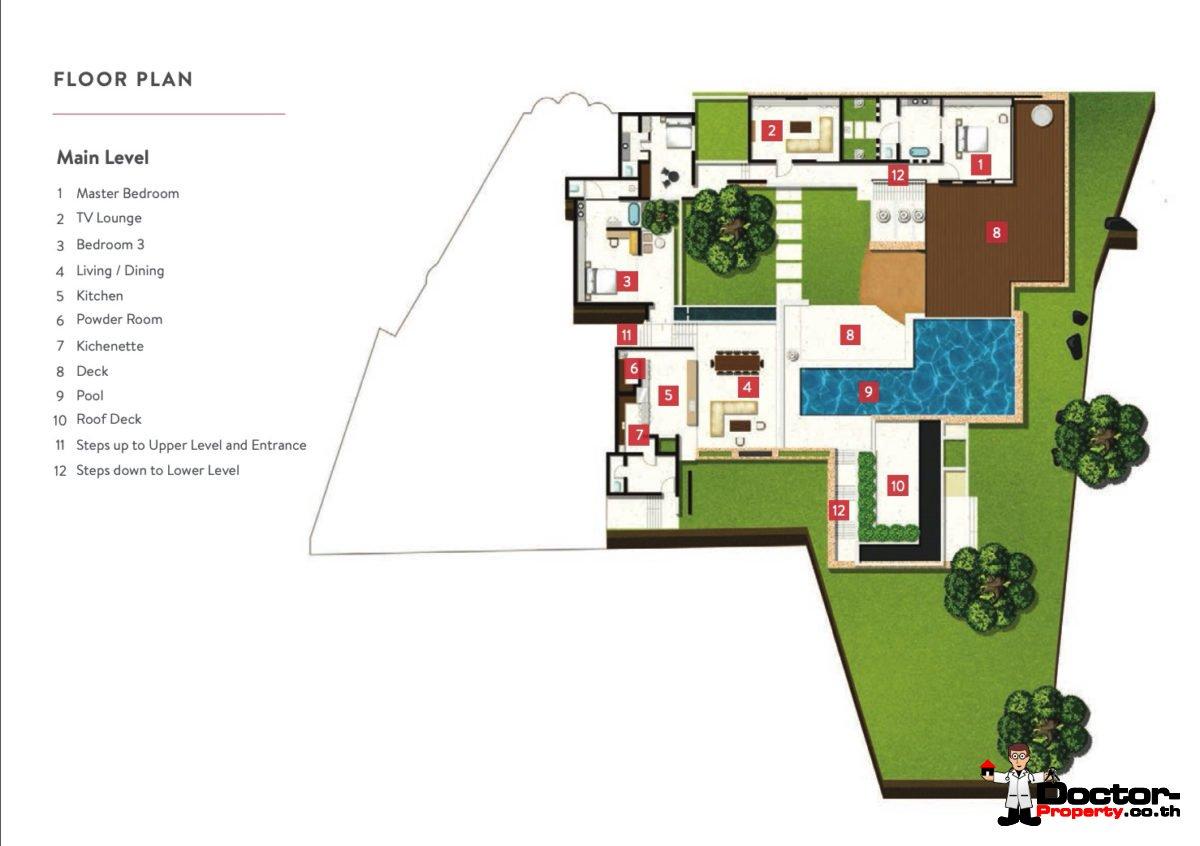 Main Level - 5 Bedroom Luxury Villa - Choeng Mon, Koh Samui - For Sale