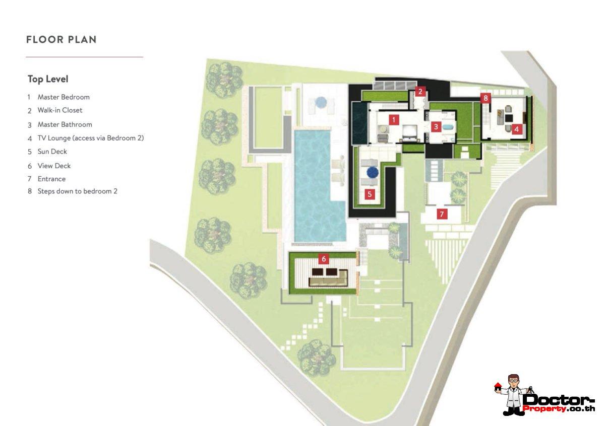 Top Level - 6 Bedroom Luxury Pool Villa, Choeng Mon, Koh Samui — For Sale