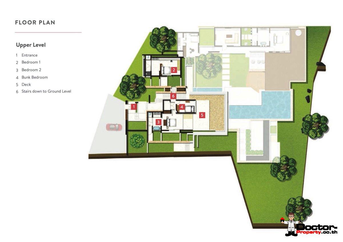 Upper Level - 5 Bedroom Luxury Villa - Choeng Mon, Koh Samui - For Sale