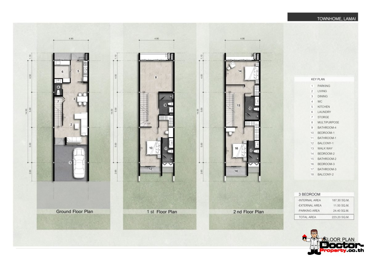 All Floors Plan - Luxurious 3 Bedroom Townhouses with Sea View - Lamai, Koh Samui - For Sale