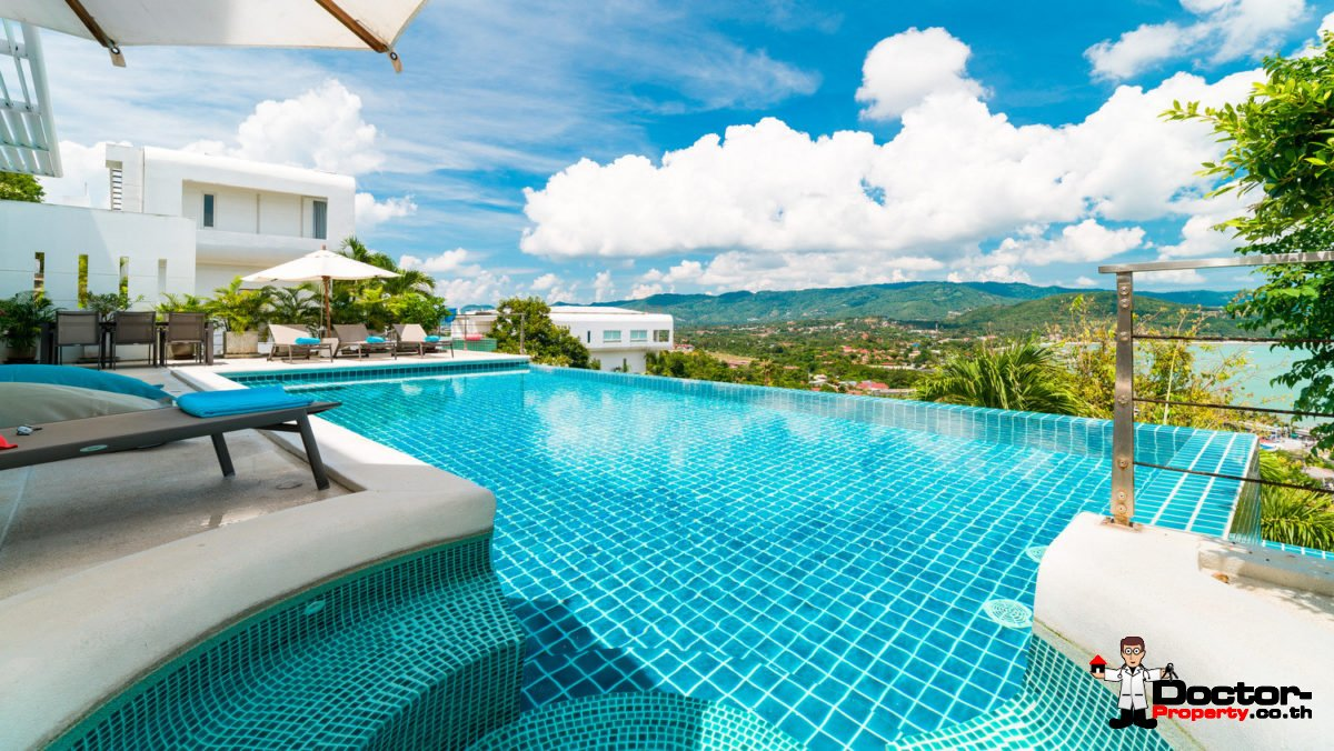 4 Bedroom Pool Villa with Sea View - Bang Rak, Koh Samui - For Sale