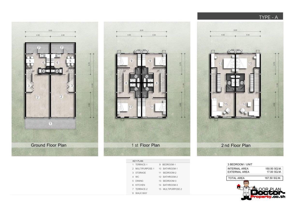 Floor Plan - New 3 Bedroom Townhouses in Bang Kao, Koh Samui - For Sale