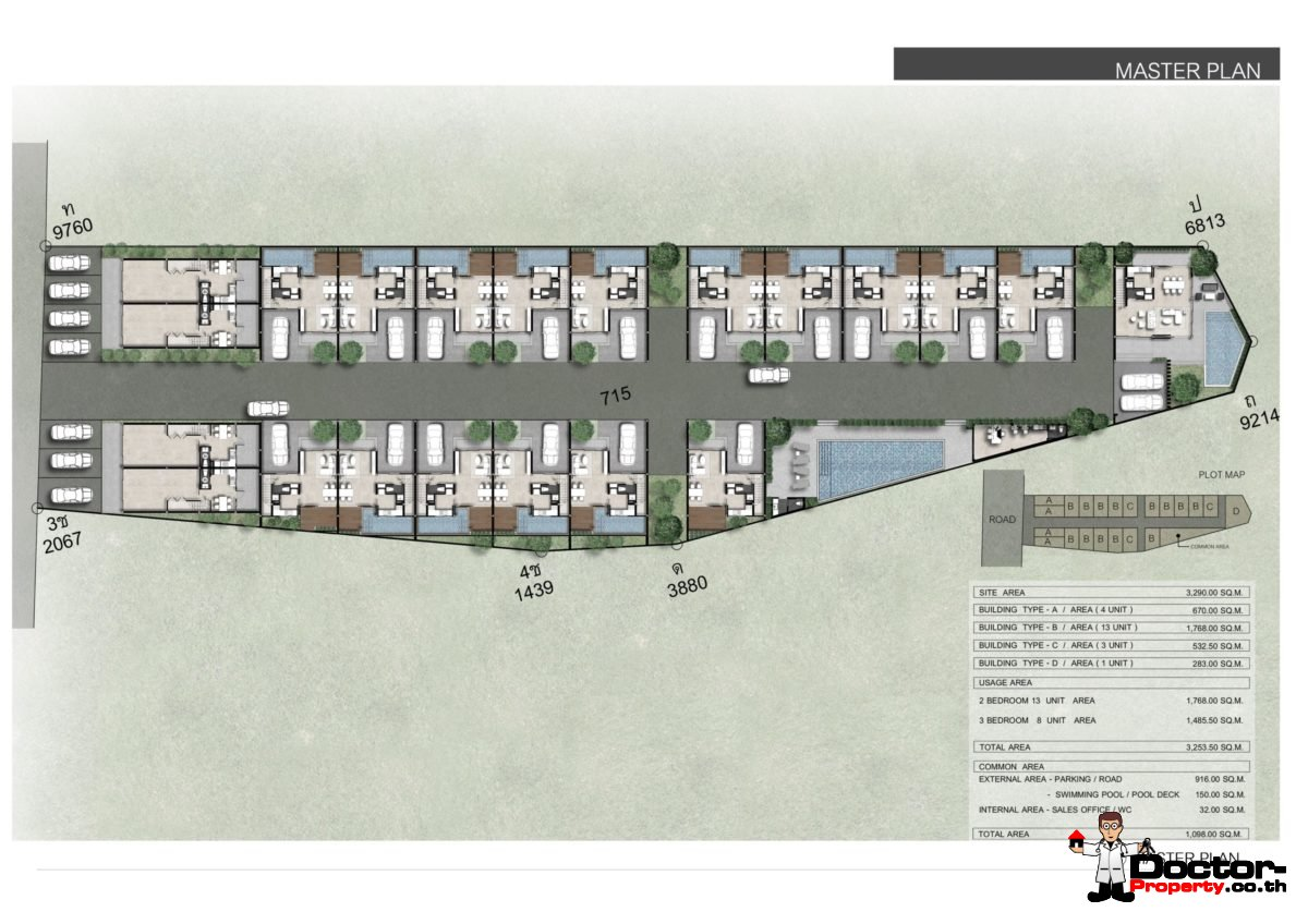 Masterplan - New 3 Bedroom Townhouses in Bang Kao, Koh Samui - For Sale