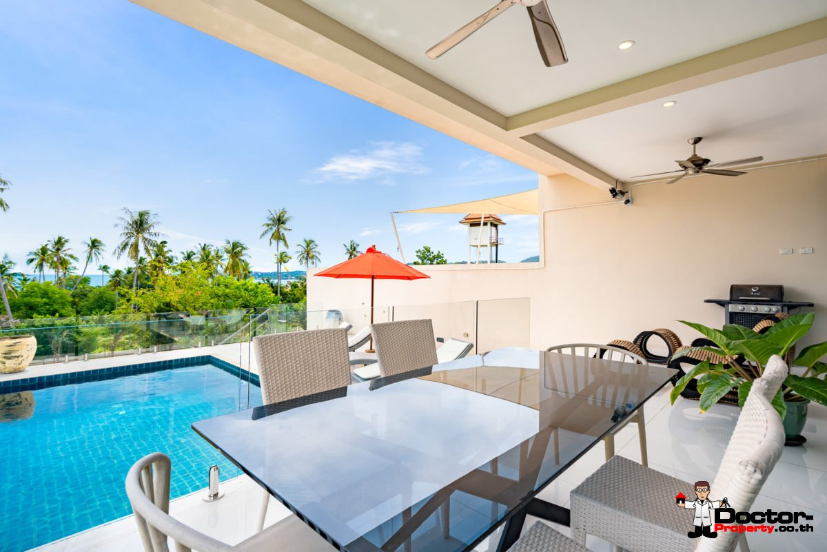 3 Bedroom Twin Villa, Sea View, Pool - Bang Rak, Koh Samui - For Sale