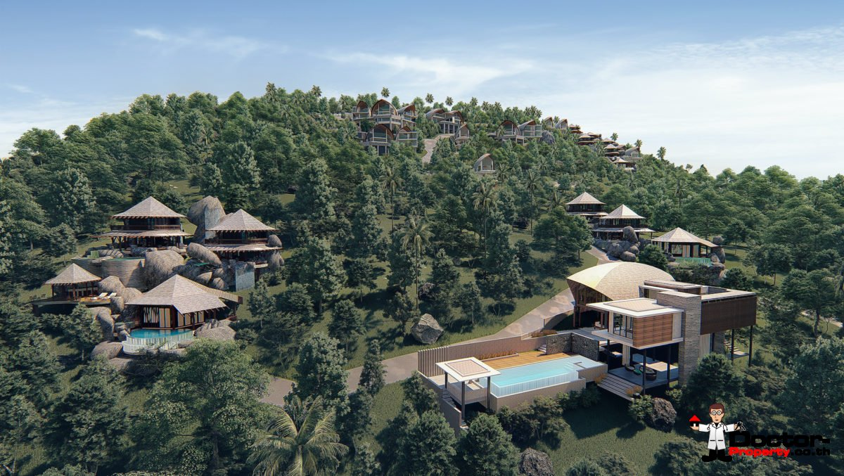 New 5 Bedroom Villas with Pool, Sea View - Laem Set, Koh Samui - For Sale