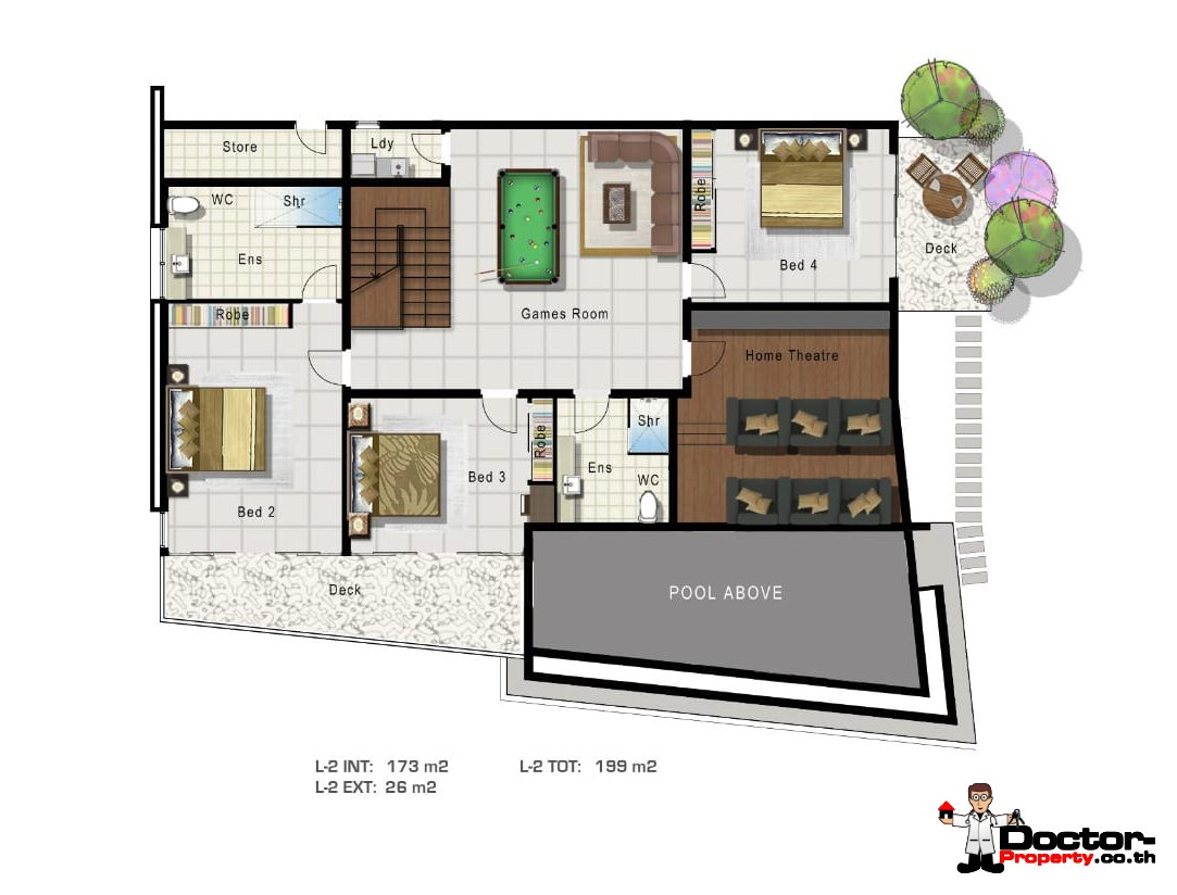 Lower Level -4 Bedroom Sea View Pool Villa - Mae Nam, Koh Samui - For Sale