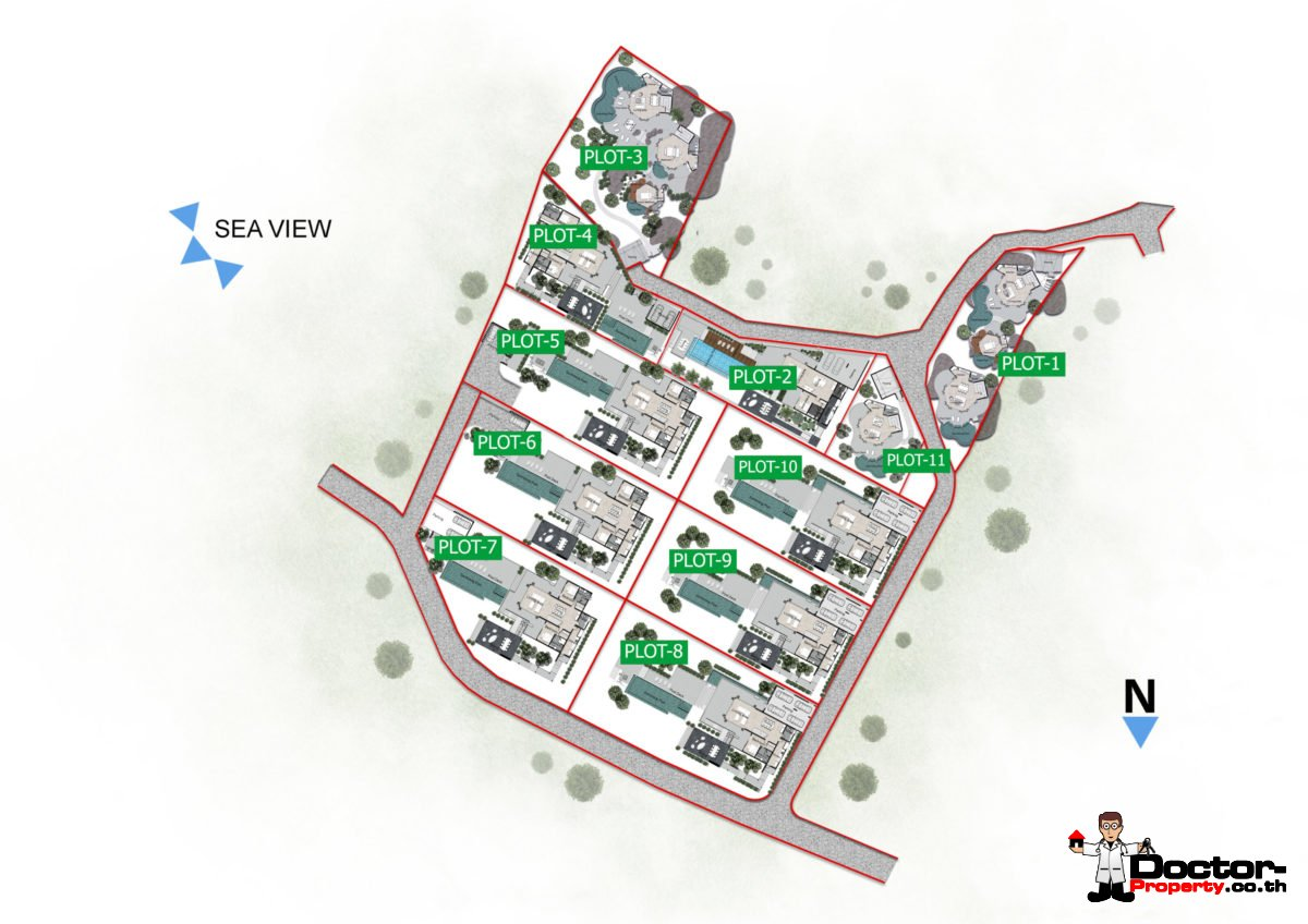 Masterplan - New 4 & 5 Bedroom Villas with Pool, Sea View - Laem Set, Koh Samui - For Sale