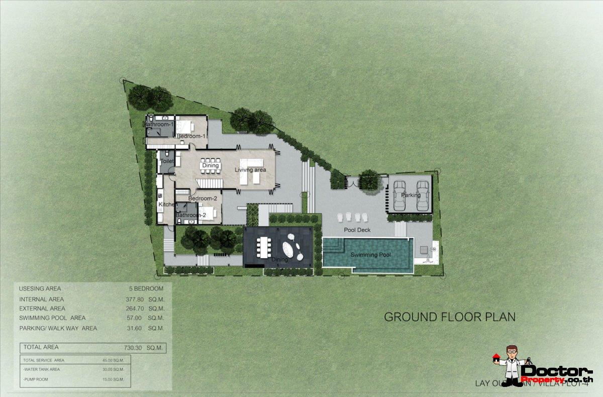 Plot 4 - New 5 Bedroom Villa with Pool, Sea View - Laem Sett, Koh Samui - For Sale