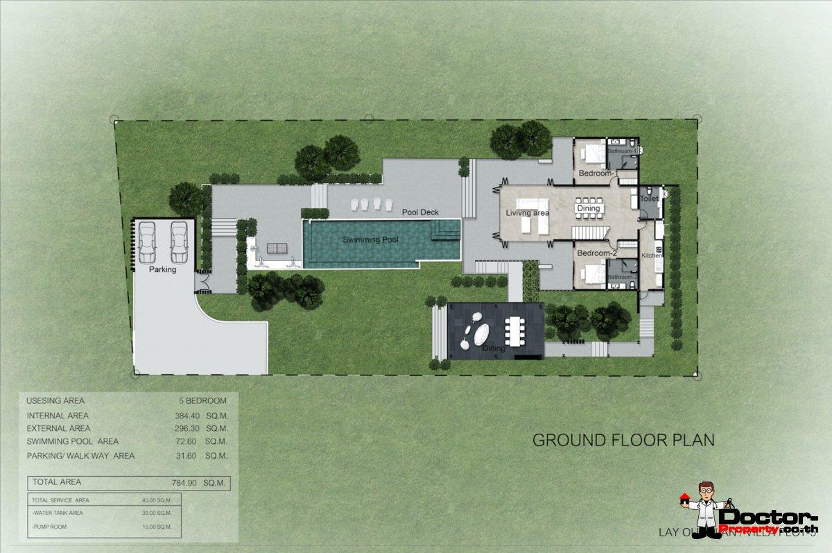 Plot 5 - New 5 Bedroom Villa with Pool, Sea View - Laem Sett, Koh Samui - For Sale