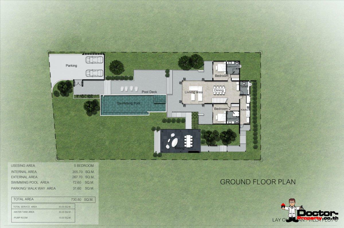 Plot 8 - New 5 Bedroom Villa with Pool, Sea View - Laem Sett, Koh Samui - For Sale