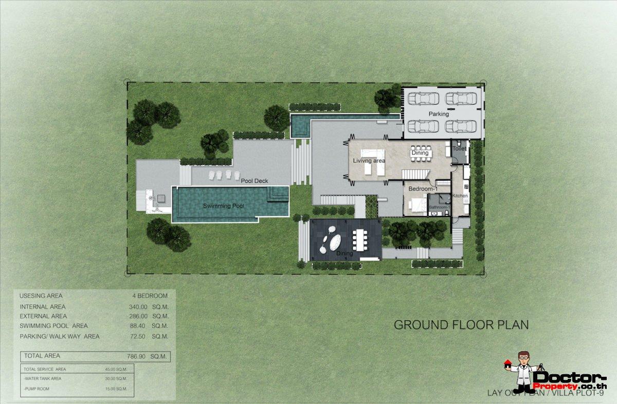 Plot 9 - New 4 Bedroom Villa with Pool, Sea View - Laem Sett, Koh Samui - For Sale