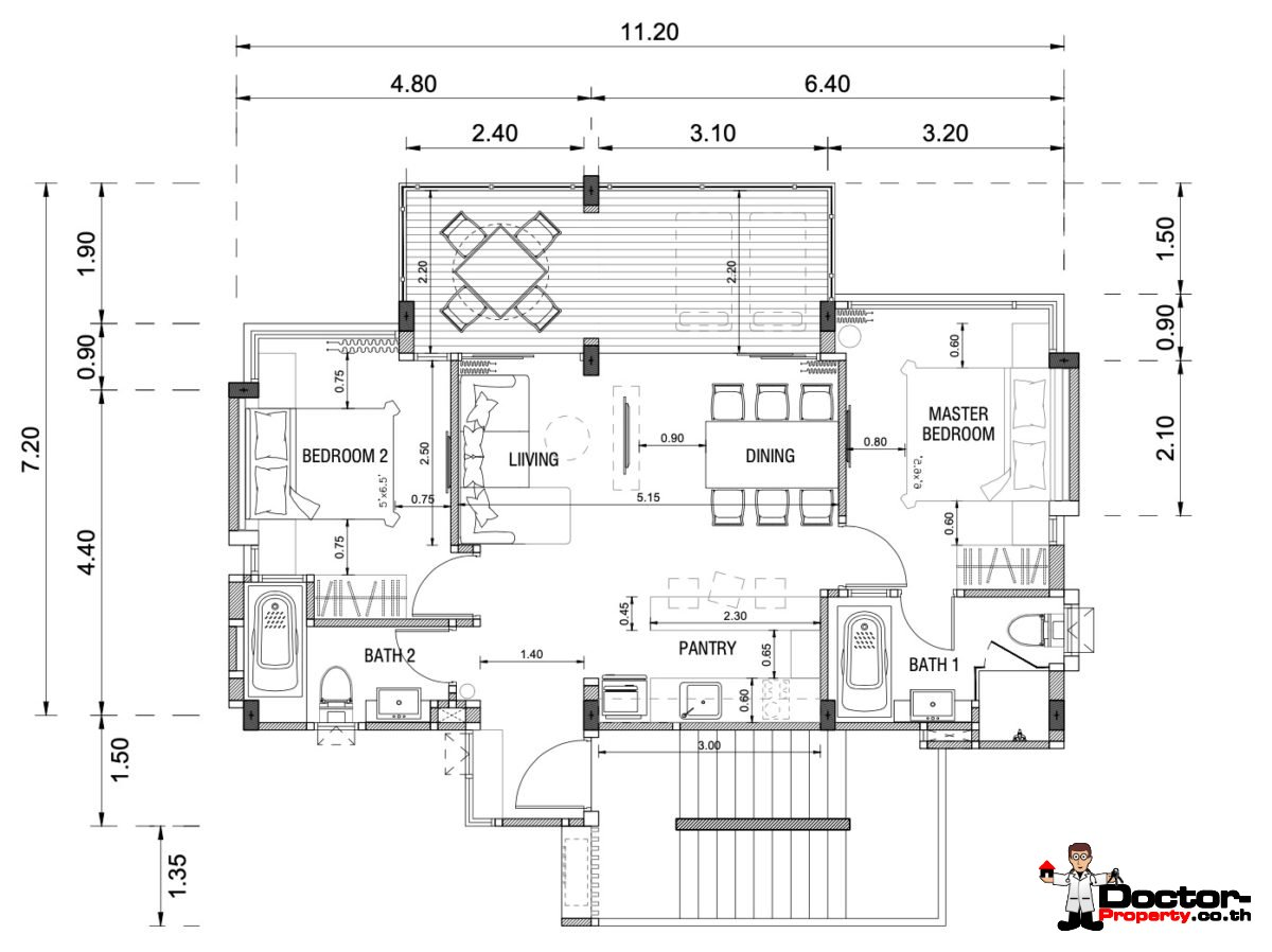 2 Bedroom Floorplan - Beachfront Bliss Condotel - 1 and 2 Bedrooms - Sakhu, Phuket - For Sale