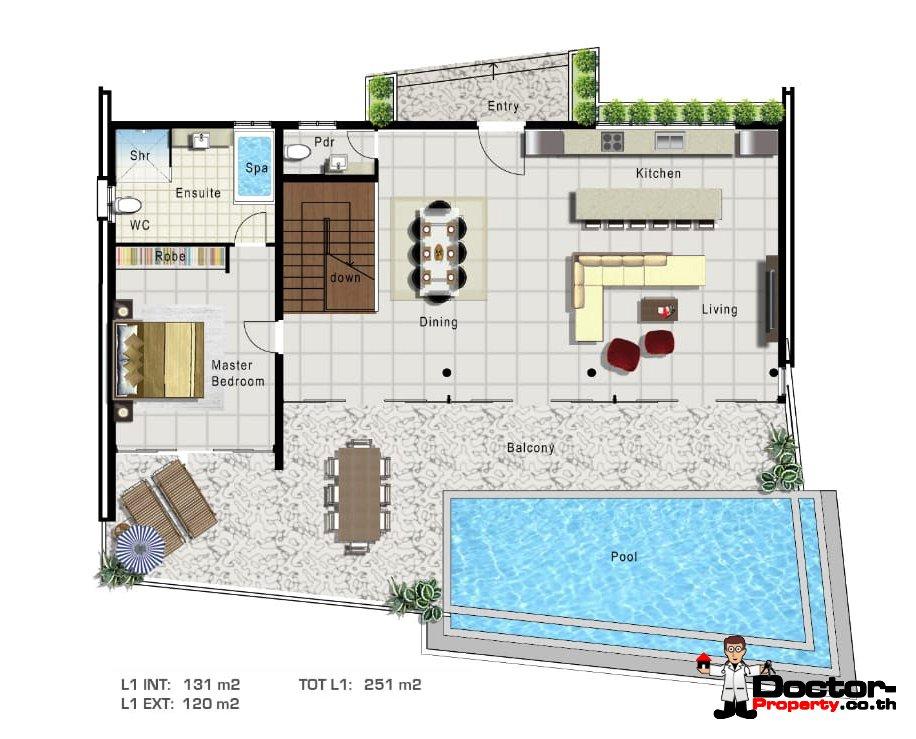 Upper Level -4 Bedroom Sea View Pool Villa - Mae Nam, Koh Samui - For Sale