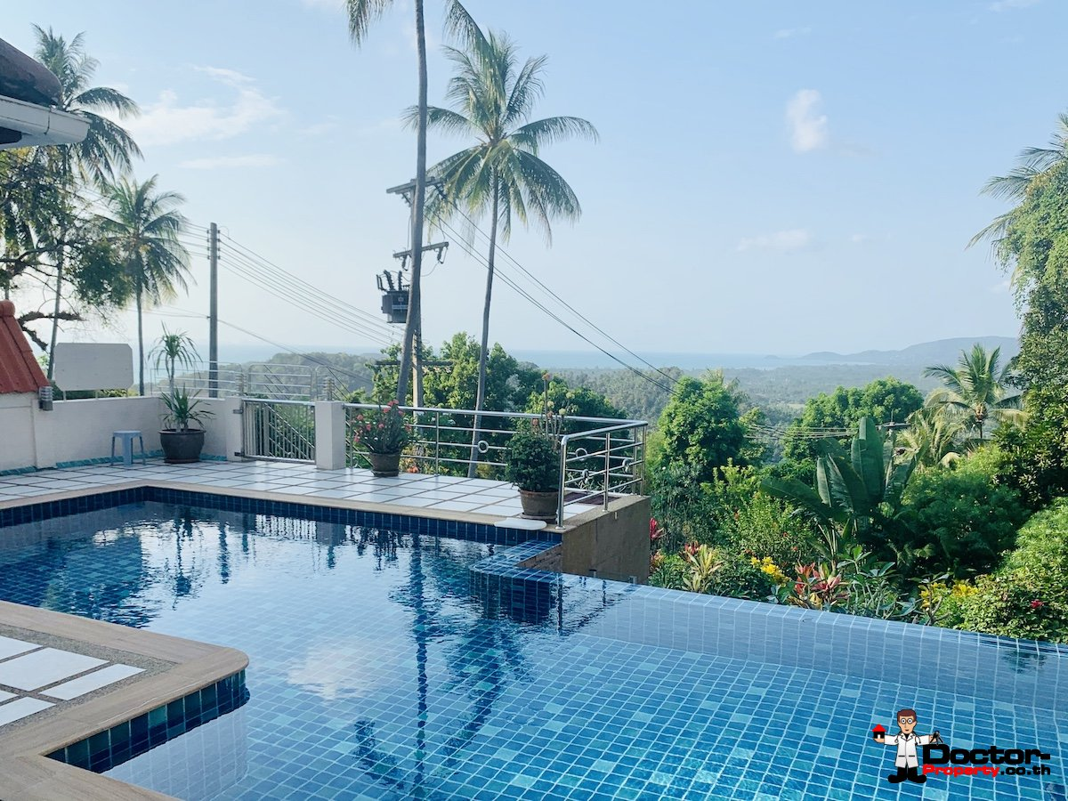 3 Bedroom House on 1 rai, Sea View - Taling Ngam, Koh Samui - For Sale