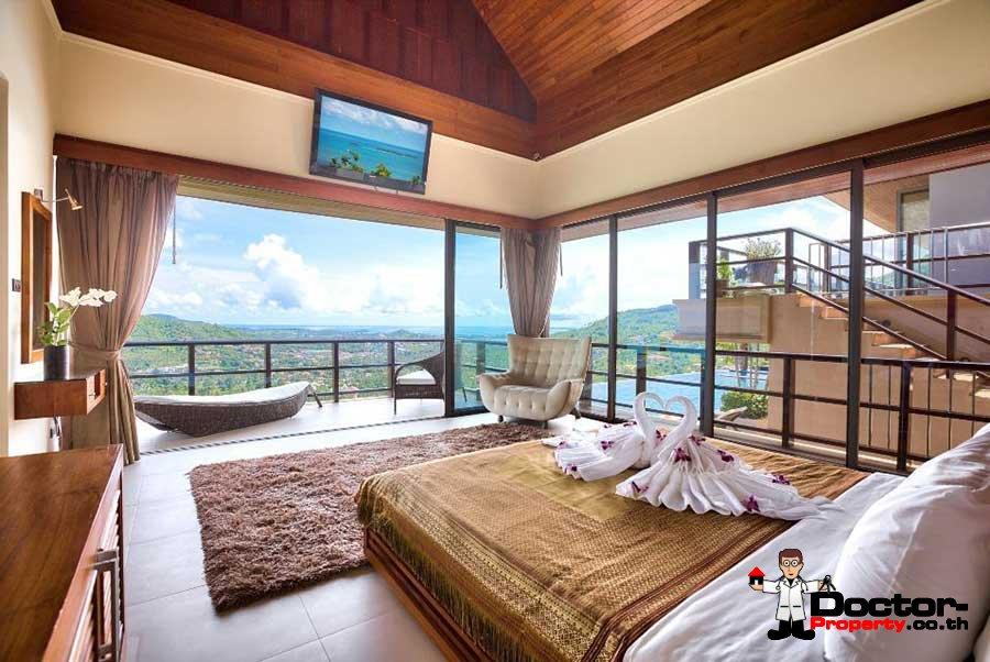Traditional 5 Bedroom Panoramic Sea View Villa - Bo Phut - Koh Samui - for sale