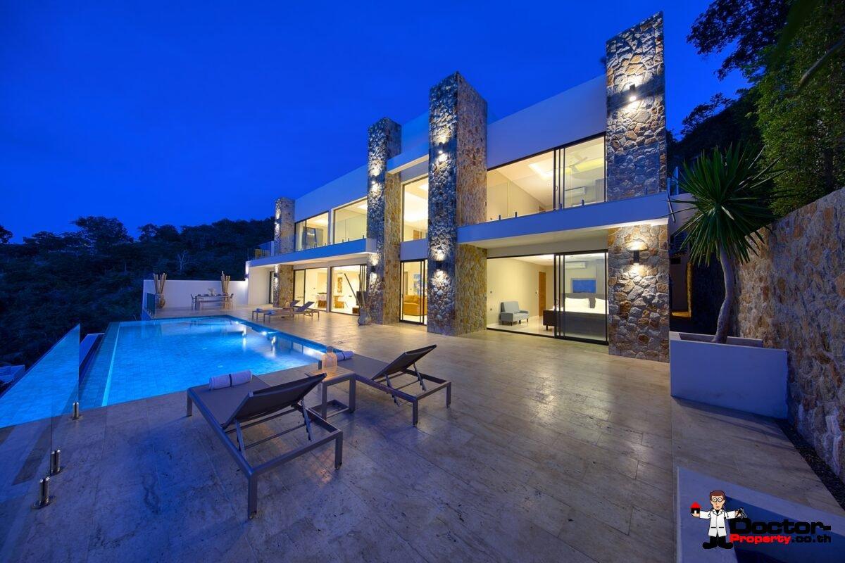 New 4 Bedroom Villa with Sea View in Bo Phut Hills, Koh Samui - For Sale
