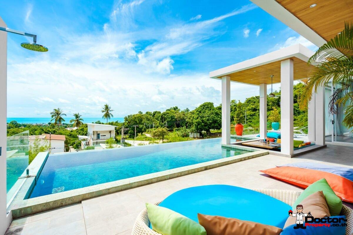 New 3 Bedroom Villa with Sea View – Bophut, Koh Samui – For Sale