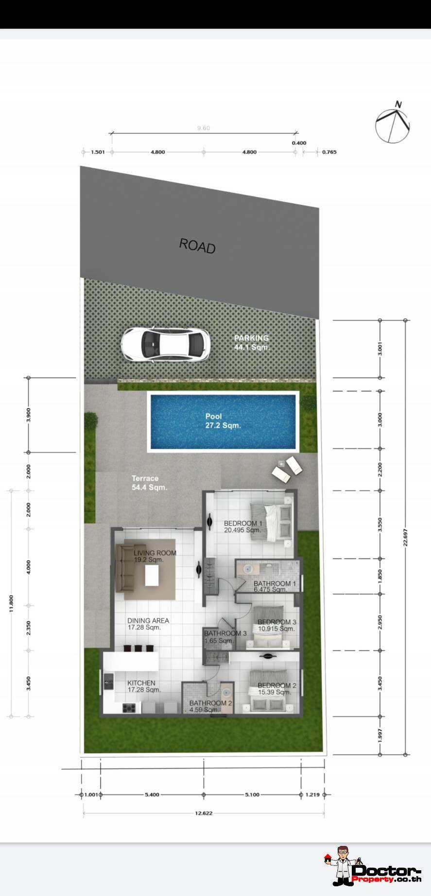 New 3 Bedroom Privat Pool Villa – Bophut – Koh Samui – for sale