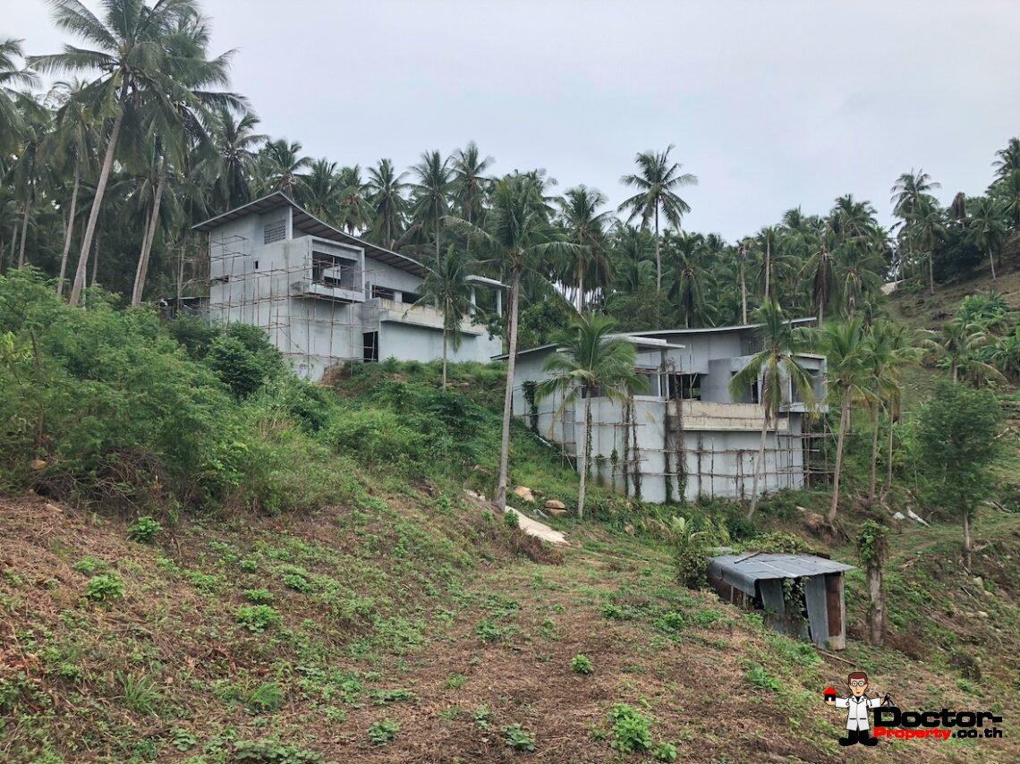 Unfinished 3 Bedroom Sea View Villa – Bophut – Koh Samui – for sale